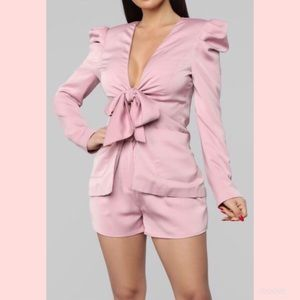 Fashion Nova Blush Dearly Beloved Satin Blazer L